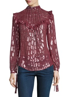Veronica Beard Brooks Mock-Neck Long-Sleeve Silk Blouse w/ Metallic