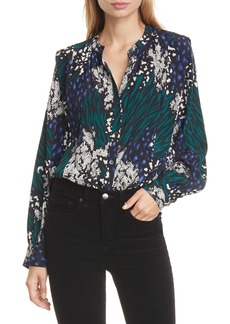 Veronica Beard Buckley Mixed Print Stretch Silk Top