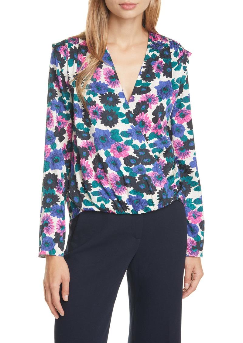 Veronica Beard Buzio Floral Stretch Silk Top