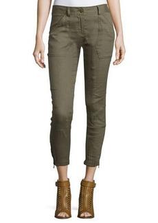 Veronica Beard Caladium Cropped Zip-Trim Cargo Pants