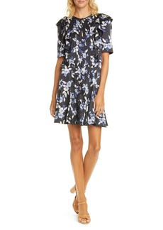 Veronica Beard Camillie Floral Stretch Silk Minidress