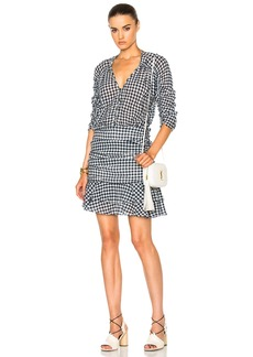 Veronica Beard Campbell Ruched Sleeve V-Neck Dress