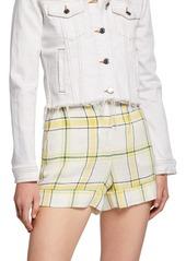 Veronica Beard Carito Plaid High-Rise Shorts