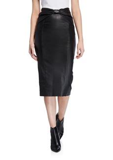 Veronica Beard Carlyn Leather Pencil Skirt