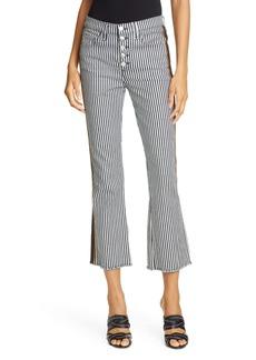 Veronica Beard Carolyn Stripe Crop Baby Bootcut Pants