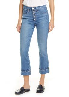 Veronica Beard Carolyn Stripe Hem Crop Baby Boot Jeans (Pacific Blue)