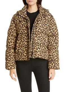 Veronica Beard Casper Leopard Print Down Puffer Jacket