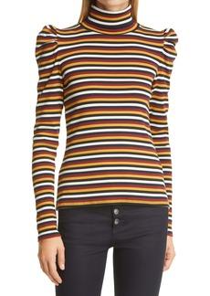 Veronica Beard Cedar Stripe Puff Sleeve Stretch Cotton Turtleneck Top