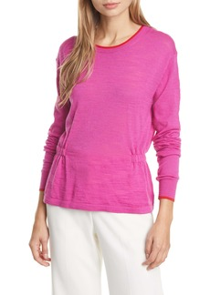 Veronica Beard Charlene Cinched Merino Wool Sweater