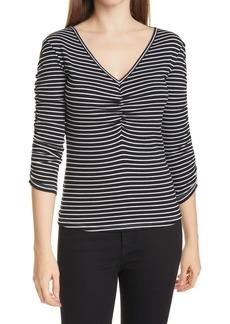 Veronica Beard Clarita Stripe Ruched V-Neck T-Shirt