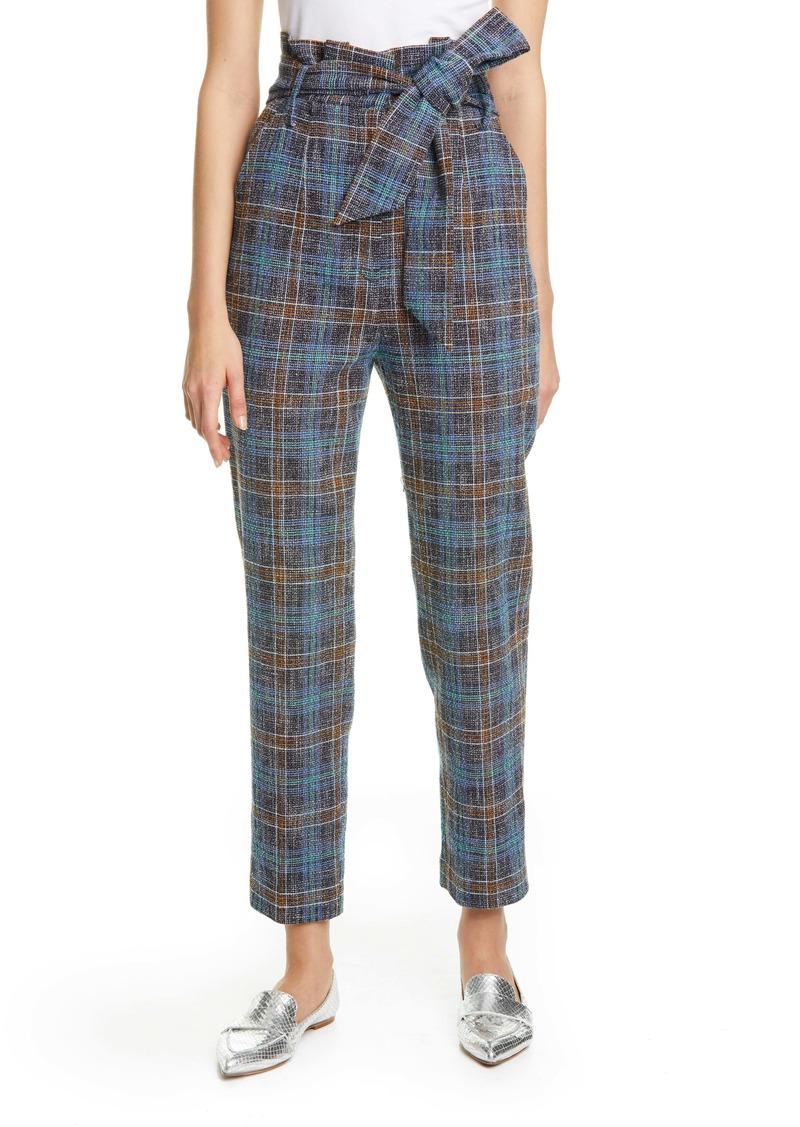 Veronica Beard Clerence Plaid Tweed High Waist Crop Paperbag Waist Pants