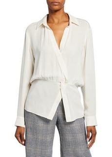Veronica Beard Clyde Silk Asymmetrical Shirt