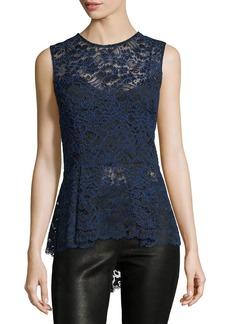 Veronica Beard Corded Lace Back-Zip Sleeveless Peplum Blouse