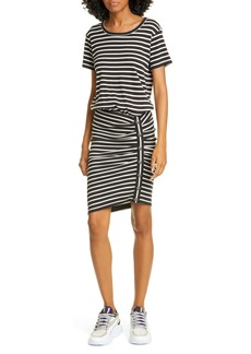 Veronica Beard Cortland Stripe Ruched Minidress