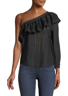 Veronica Beard Cruz Eyelet One-Shoulder Ruffle Top