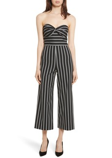 Veronica Beard Cypress Stripe Strapless Jumpsuit
