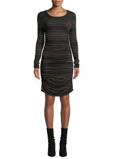 Veronica Beard Daphne Striped Metallic Long-Sleeve Dress
