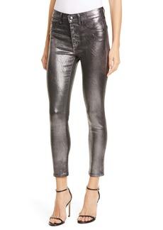 Veronica Beard Debbie Metallic Button Fly Skinny Jeans