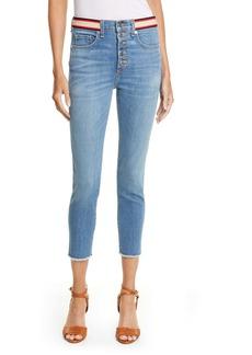Veronica Beard Debbie Ribbon High Waist Crop Skinny Jeans (Cadet)