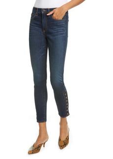 Veronica Beard Debbie Side Button High Waist Ankle Skinny Jeans (Dark Vintage)