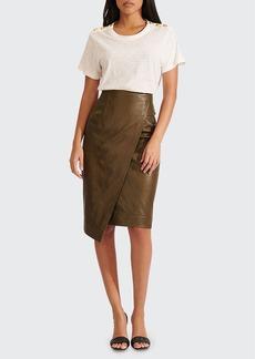 Veronica Beard Delilah Leather Wrap Skirt