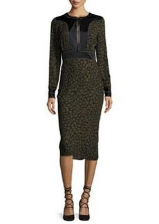 Veronica Beard Drifter Long-Sleeve Silk Animal-Print Midi Dress