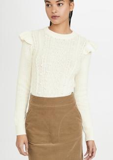 Veronica Beard Earl Crew Neck Cable Sweater