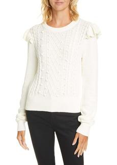 Veronica Beard Earl Ruffle Shoulder Cable Knit Sweater