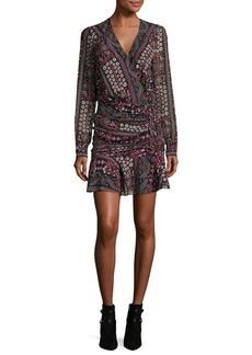 Veronica Beard Edison Ruched Flounce-Hem Printed Dress