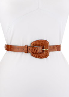 Veronica Beard Elsy Croc-Embossed Leather Belt