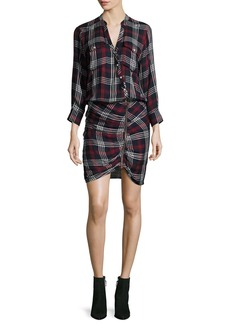 Veronica Beard Emory Ruched Cargo Plaid Shirtdress