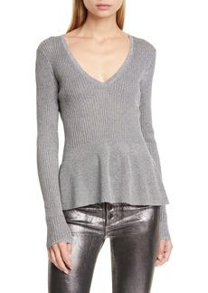 Veronica Beard Esmeralda Metallic Peplum Sweater