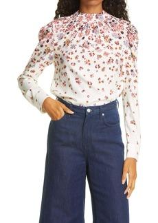Veronica Beard Fey Floral Stretch Silk Blouse