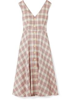 Veronica Beard Finn Checked Crepe Midi Dress