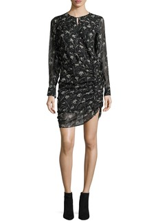 Veronica Beard Fitzgerald Side-Ruched Floral-Print Chiffon Mini Dress