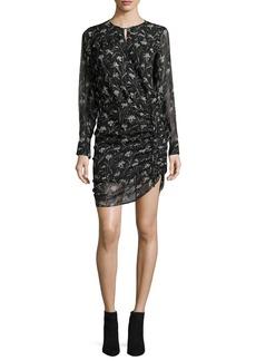 Veronica Beard Fitzgerald Side-Ruched Floral-Print Chiffon Mini Dress