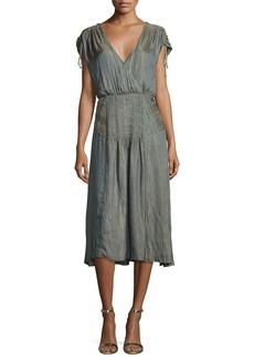 Veronica Beard Flash Iridescent Pintucked Midi Dress