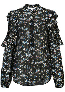 Veronica Beard floral print and embroidered sheer blouse - Black