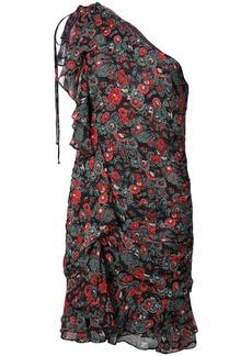 Veronica Beard floral print one shoulder dress - Black