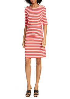 Veronica Beard Foley Ruched Stripe T-Shirt Dress