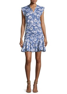 Fountain Asymmetric Button-Front Ruched Dress