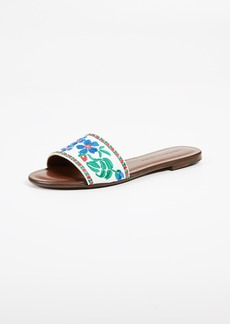 Veronica Beard Frida Linen Slide Sandals