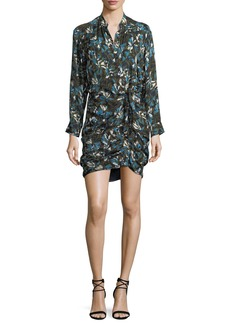 Veronica Beard Georgina Button-Front Printed Silk Dress