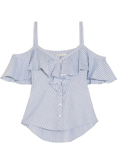 Veronica Beard Grant cold-shoulder ruffled striped cotton blouse