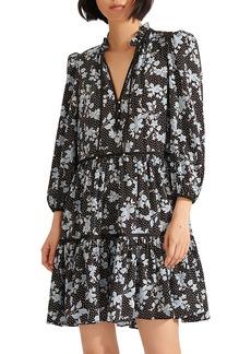 Veronica Beard Hawken Floral Tiered Stretch Silk Dress
