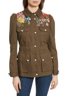 Veronica Beard Huxley Floral Embroidered Safari Jacket