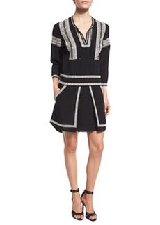 Veronica Beard Ignacio 3/4-Sleeve Embroidered Silk Dress