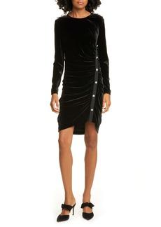 Veronica Beard Ira Long Sleeve Ruched Velvet Minidress