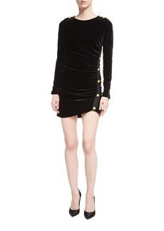 Veronica Beard Ira Side-Ruched Long-Sleeve Velvet Cocktail Dress