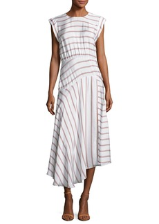 Veronica Beard Jackie Asymmetric Striped Midi Dress